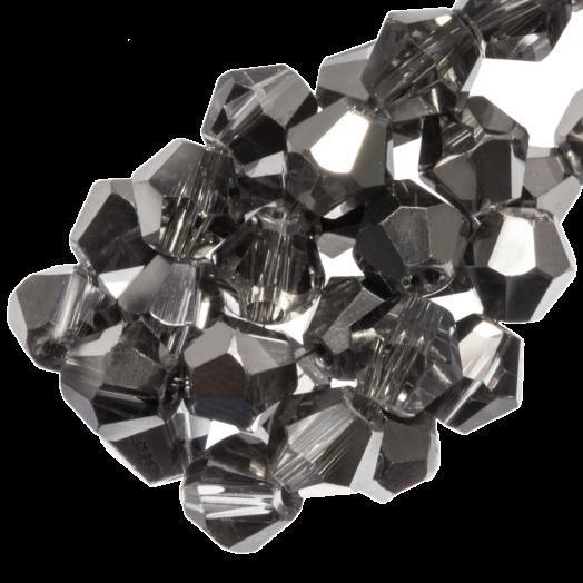 Facetkralen Bicone (4 mm) Transparent Silver Grey Shine (110 Stuks)