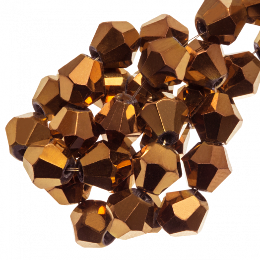 Facetkralen Bicone (4 mm) Copper Shine (110 Stuks)