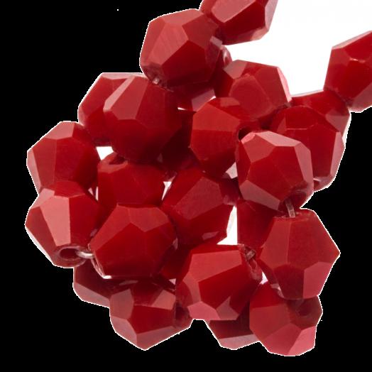 Facetkralen Bicone (6 mm) Rose Red (50 Stuks)