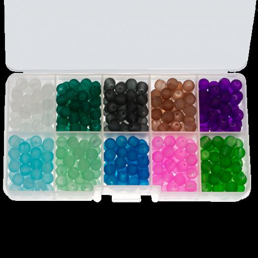 Voordeelpakket - Frosted glaskralen (8 mm) Mix Color Bold (200 Stuks)