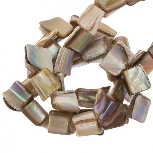Zoetwaterparel- Schelp Kralen (10 x 8 mm) Tan (48 Stuks)