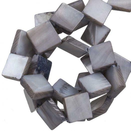 Zoetwaterparel- Schelp Kralen (10 x10 mm) Light Grey (35 Stuks)