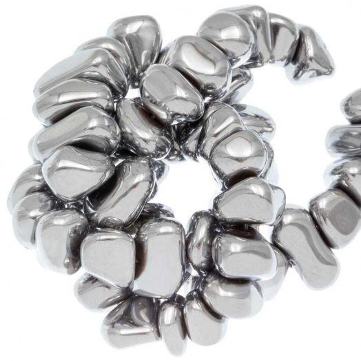 Hematite kralen (15 x 8~10 mm) Silver Electroplated (55 stuks)
