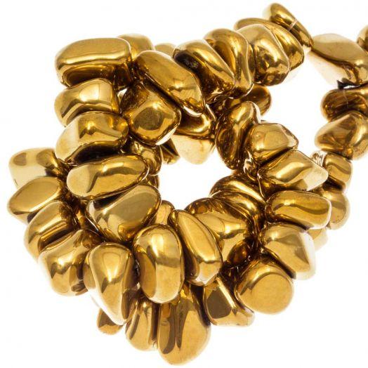 Hematite kralen (15 x 8~10 mm) Gold Electroplated (55 stuks)