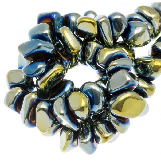Hematite kralen (15 x 8~10 mm) Blue Green Electroplated (55 stuks)