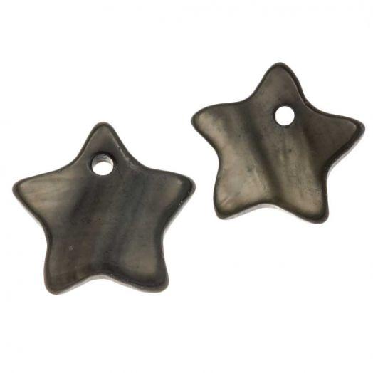 Schelp Bedel (12 mm) Dark Grey (15 Stuks)