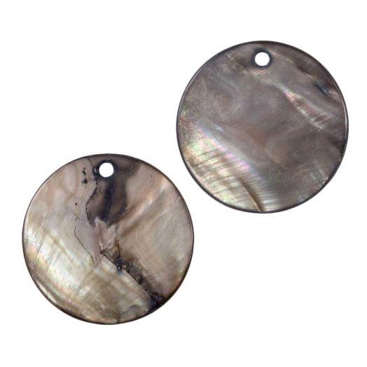 Schelp hanger (25 mm) Grey Brown (25 Stuks)