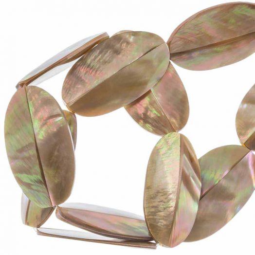 Schelp Kralen (31 x 17 mm) Brown Lip Shell (13 Stuks)