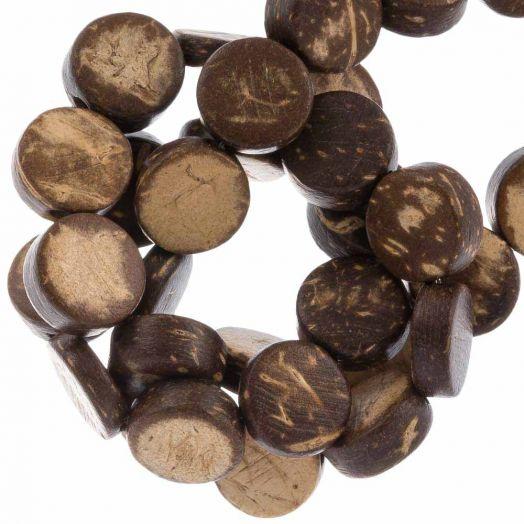 Kokos kralen (10 x 4 mm) Natural Brown (40 Stuks)
