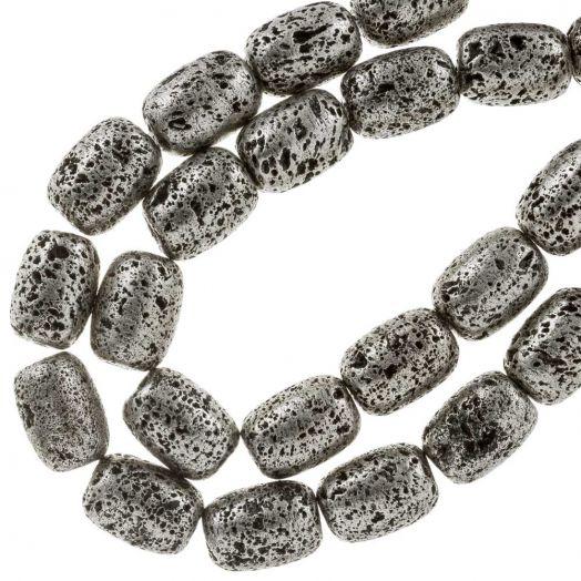 Lava Electroplated Kralen (16 x 12  mm) Silver (23 Stuks)