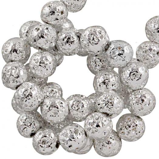 Lava Electroplated Kralen (4 - 5 mm) Silver (85 Stuks)