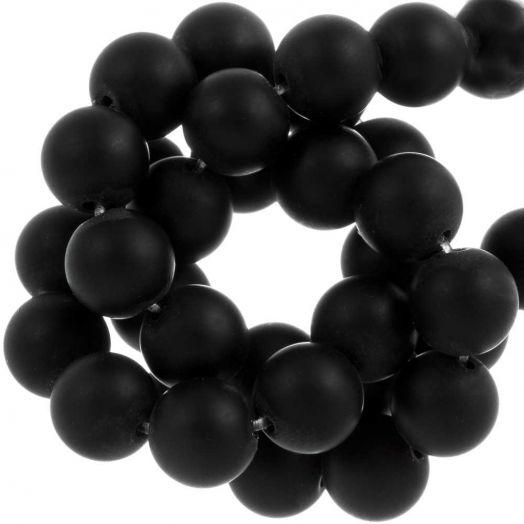 Black Stone Frosted Kralen (8 mm) 50 Stuks