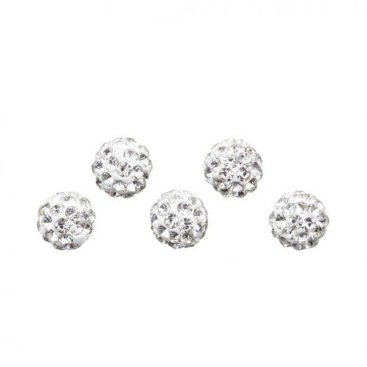 Shamballa kralen (4 mm) Crystal (5 stuks)