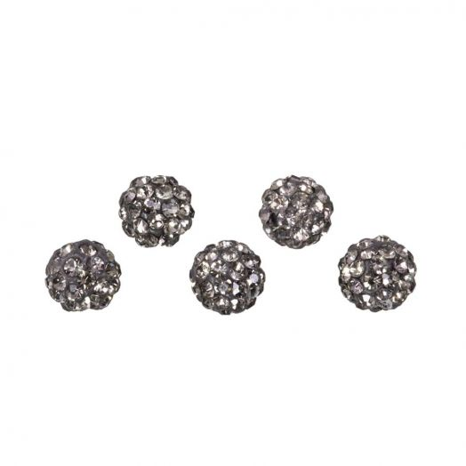 Shamballa kralen (4 mm) Black Diamond (5 stuks)