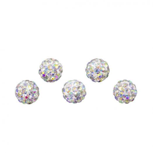 Shamballa kralen (4 mm) Crystal AB (5 stuks)
