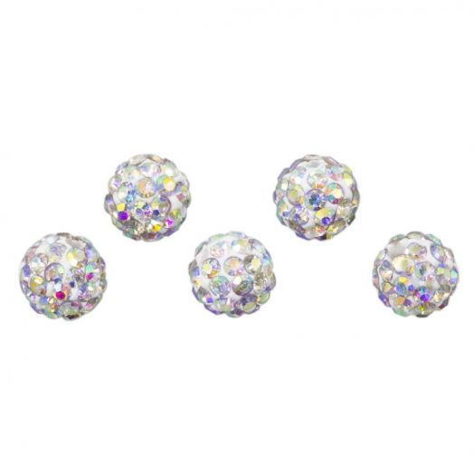 Shamballa kralen (6 mm) Crystal AB (5 stuks)