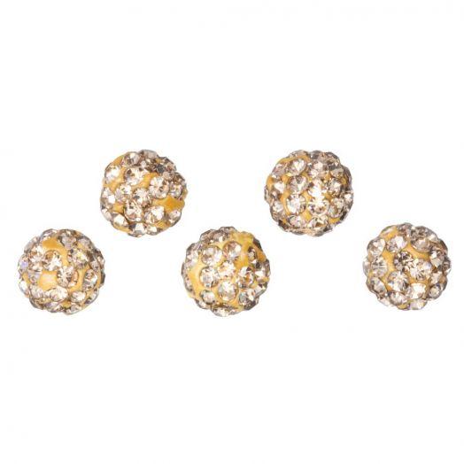 Shamballa kralen (6 mm) Topaz (5 stuks)
