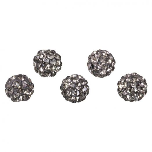 Shamballa kralen (6 mm) Black Diamond (5 stuks)