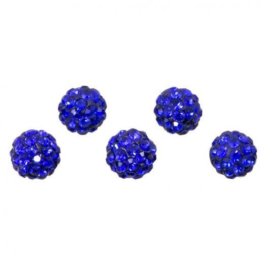Shamballa kralen (6 mm) Sapphire (5 stuks)