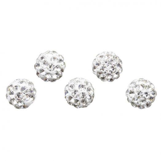 Shamballa kralen (6 mm) Crystal (5 stuks)