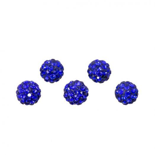 Shamballa kralen (4 mm) Sapphire (5 stuks)