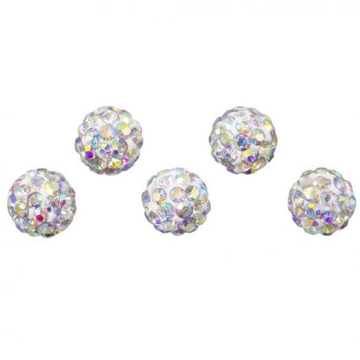 Shamballa kralen (8 mm) Crystal AB (5 stuks)