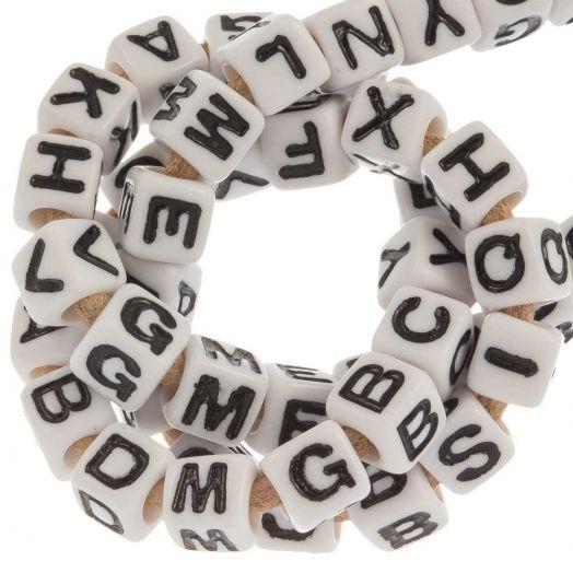 Acryl Letterkralen mix (7 x 8 mm) White (200 stuks)
