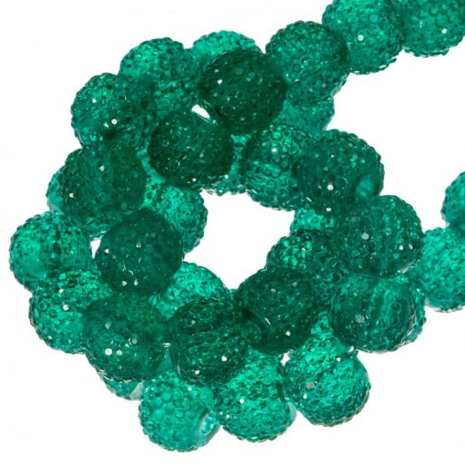 Acryl Kralen Rhinestone (8 mm) Tansparent Dark Green (25 Stuks)