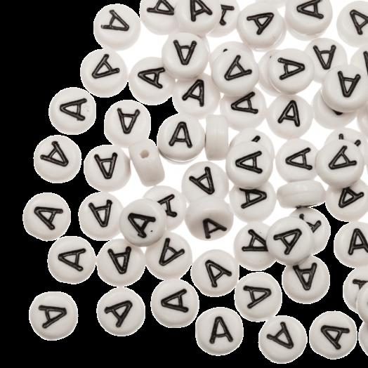 Acryl Letterkralen A (8 x 8 x 4 mm) White (25 stuks)