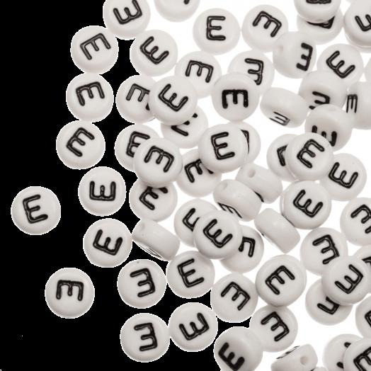 Acryl Letterkralen E (8 x 8 x 4 mm) White (25 stuks)