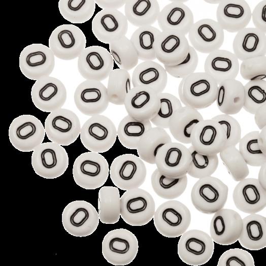 Acryl Letterkralen O (8 x 8 x 4 mm) White (25 stuks)