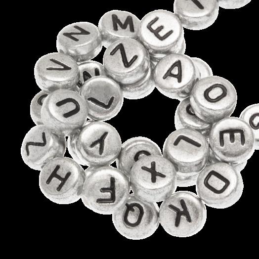 Acryl Letterkralen mix (7 x 3.5 mm) Zilver (350 stuks)