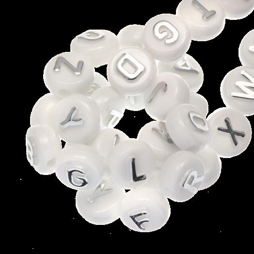 Acryl Letterkralen mix (10 x 6 mm) Zilver (170 stuks)