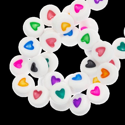 Acryl Letterkralen Hartje (7 x 3 mm) Mix Color (350 stuks)