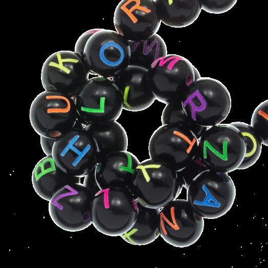 Acryl Letterkralen mix (7 x 8 mm) Black (200 stuks)