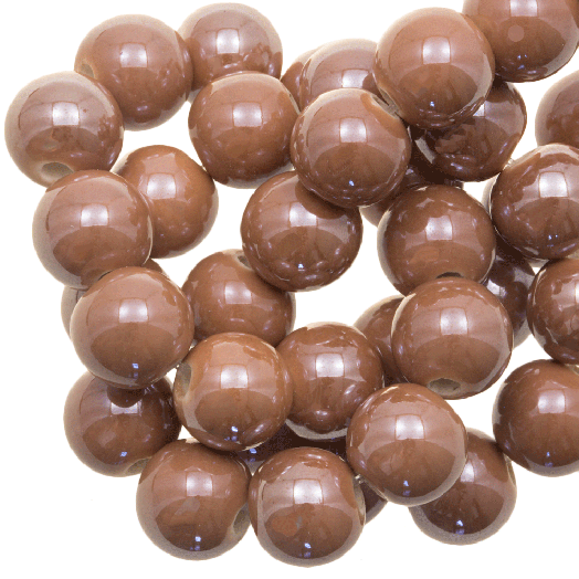 Keramiek Kralen (10 mm) Tan Brown (20 Stuks)