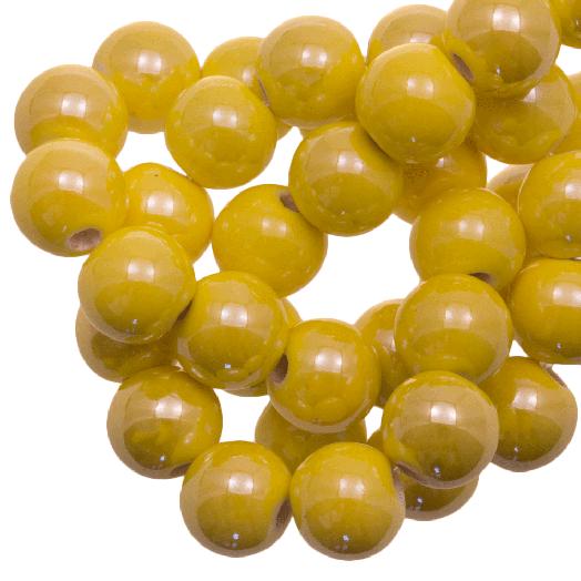Keramiek Kralen (10 mm) Bright Yellow (20 Stuks)