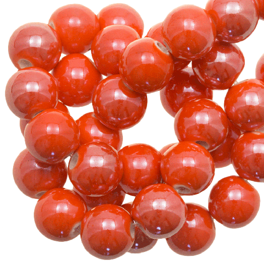 Keramiek Kralen (10 mm) Bright Orange (20 Stuks)