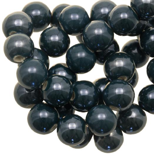 Keramiek Kralen (10 mm) Petrol (20 Stuks)