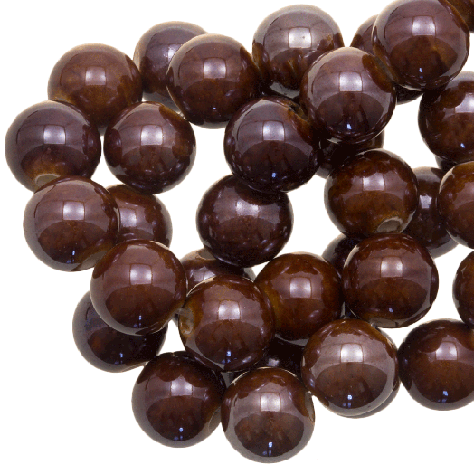 Keramiek Kralen (10 mm) Natural Brown (20 Stuks)