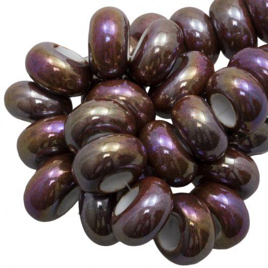 Keramiek Kralen Groot Gat (16 x 8 mm) Brown (15 Stuks)