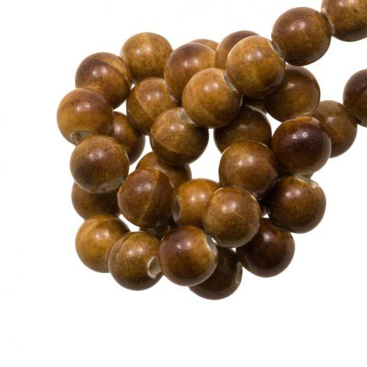 Keramiek Kralen (6 mm) Marble Brown (15 Stuks)