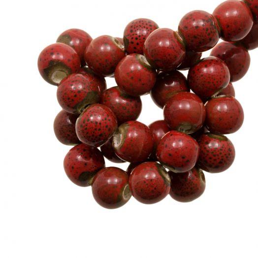 Keramiek Kralen (6 mm) Spotted Red (15 Stuks)