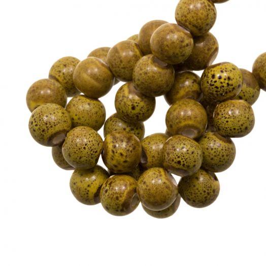 Keramiek Kralen (6 mm) Spotted Ochre Yellow (15 Stuks)
