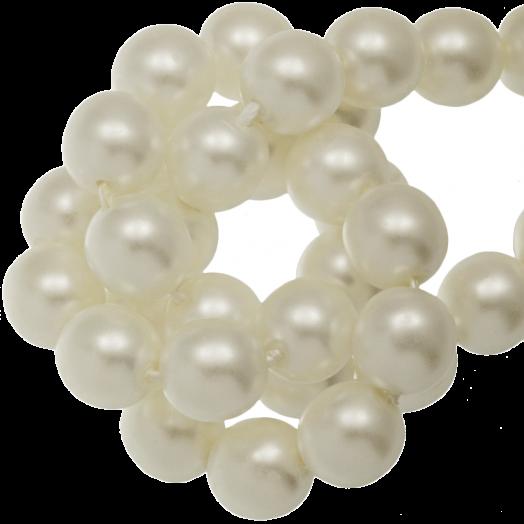 DQ Glasparels (8 mm) Broken White Matt (75 Stuks)