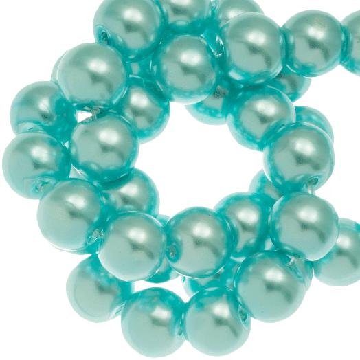 Glasparels (8 mm) Aqua Blue (100 Stuks)