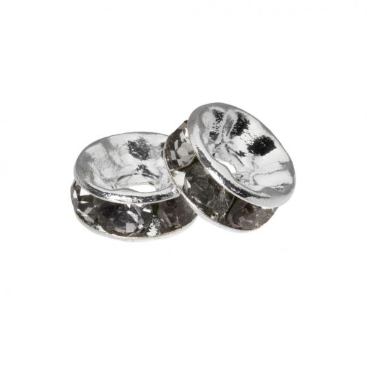 Rhinestone Spacers (4 x 2 mm) Grey (10 Stuks)