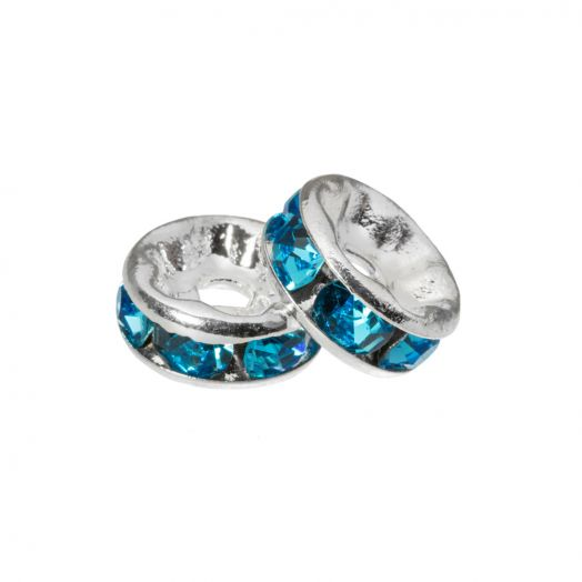 Rhinestone Spacers (4 x 2 mm) Blue (10 Stuks)