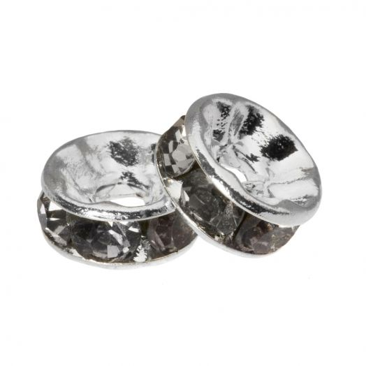 Rhinestone Spacers (6 x 3 mm) Grey (10 Stuks)