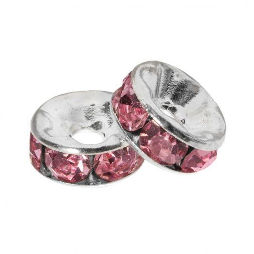 Rhinestone Spacers (6 x 3 mm) Pink (10 Stuks)